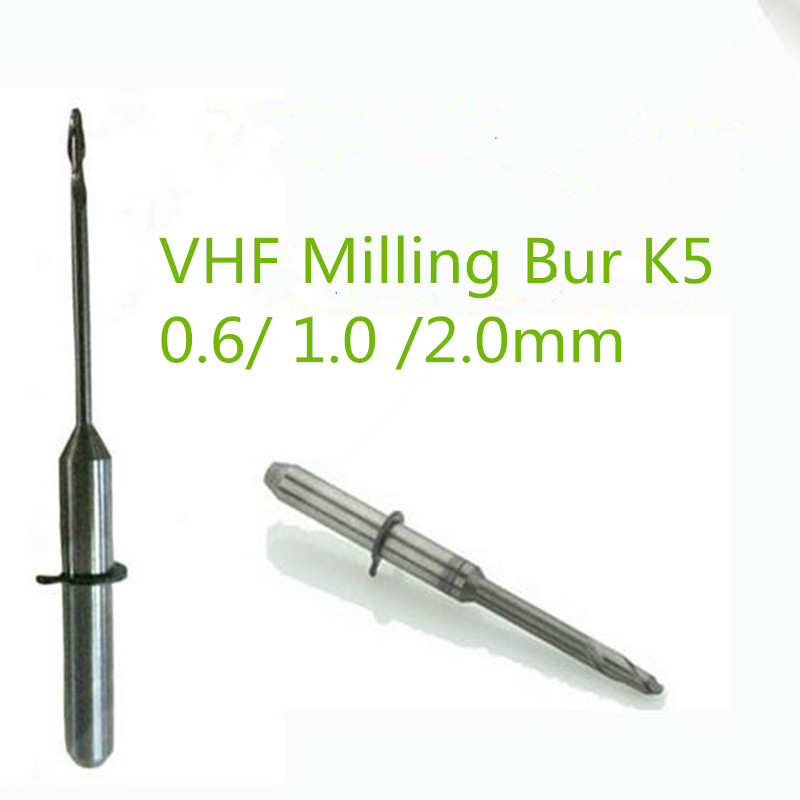 5 PCS lot Dental Lab Zirconia VHF Milling Burs 0 6 1 0 2 0mm Length