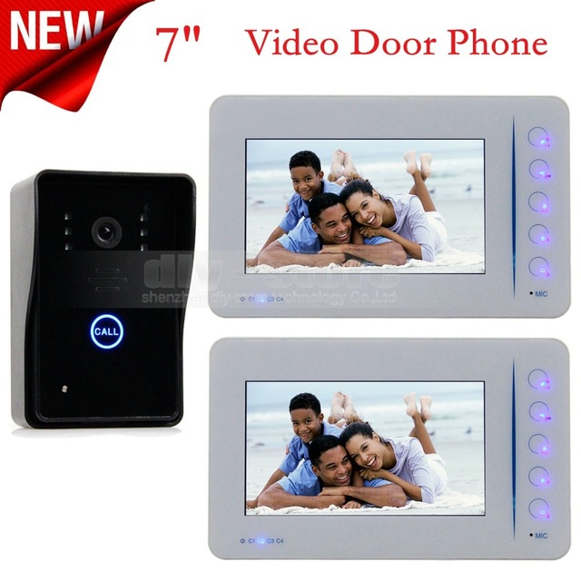 DIYSECUR 4CH Video In 1 Out Video Door Phone Touch Key Super Slim 7 inch Lcd IR Camera Home Entry Intercom 1 Camera 2 Monitor