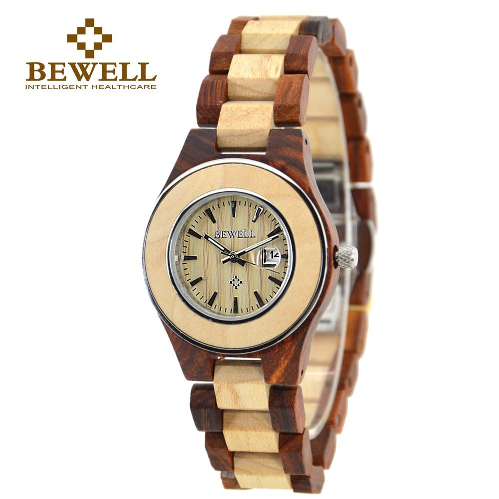 BEWELL ZS Wood Watch Designers Women Calendar Quartz Brand Luxury Girls Sport Watches Chronograph Wooden Wristwatch Box 100AL  цена