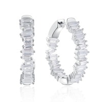 25mm 925 Sterling Silver hoop Earrings luxury women Earring setting Square Cut Sparkling Zircon fashion jewelry Free shipping