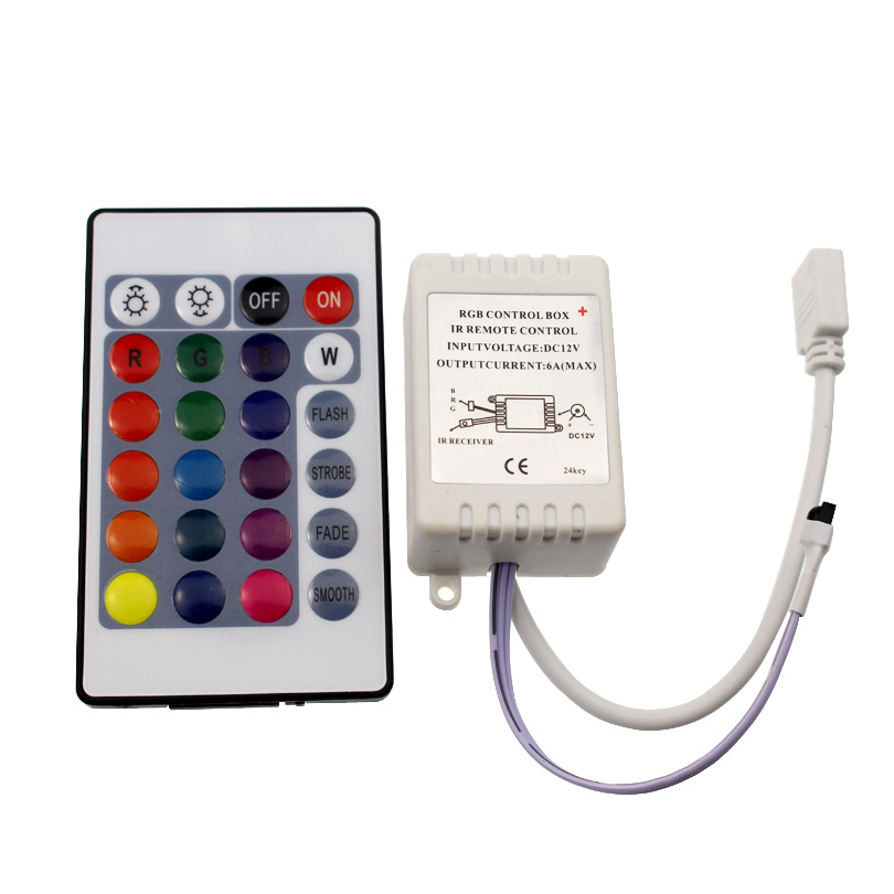 Mini Led Controller 12v Rgb Controller Box 24 Keys IR Remote Controller Control With Receiver For 2835 5050 Rgb Strip Light