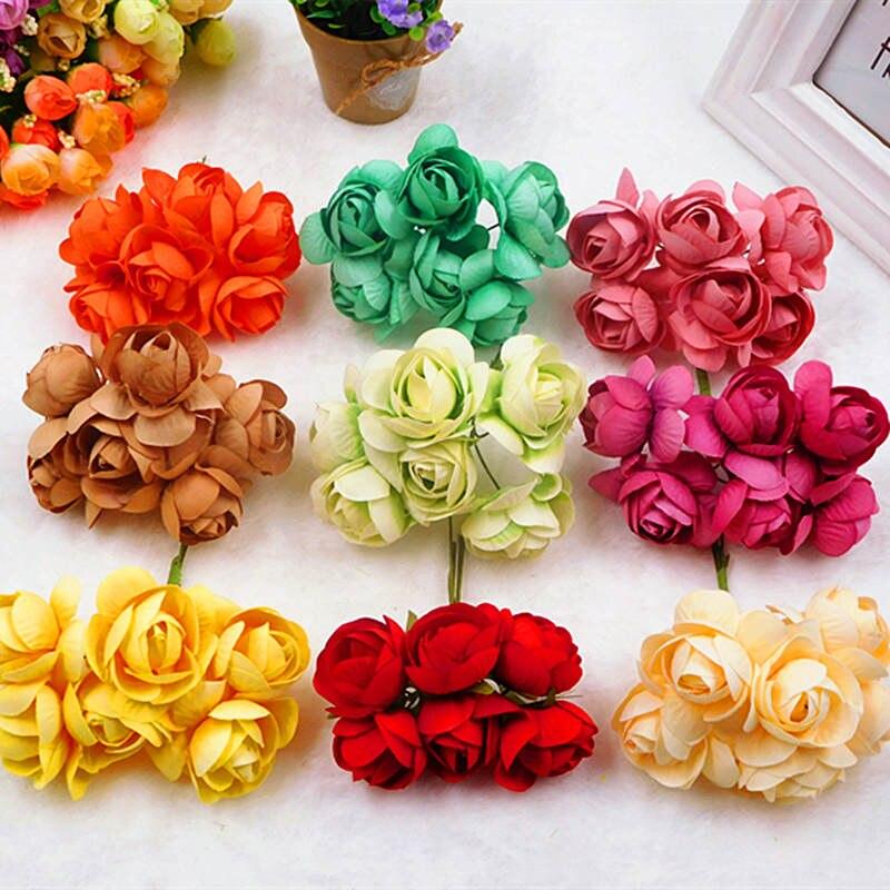 6 шт. (4 см/A) искусственный шелк чай почки букеты цветов/свадебные садовая мебель украшение венок из DIY подарочной коробке коллаж