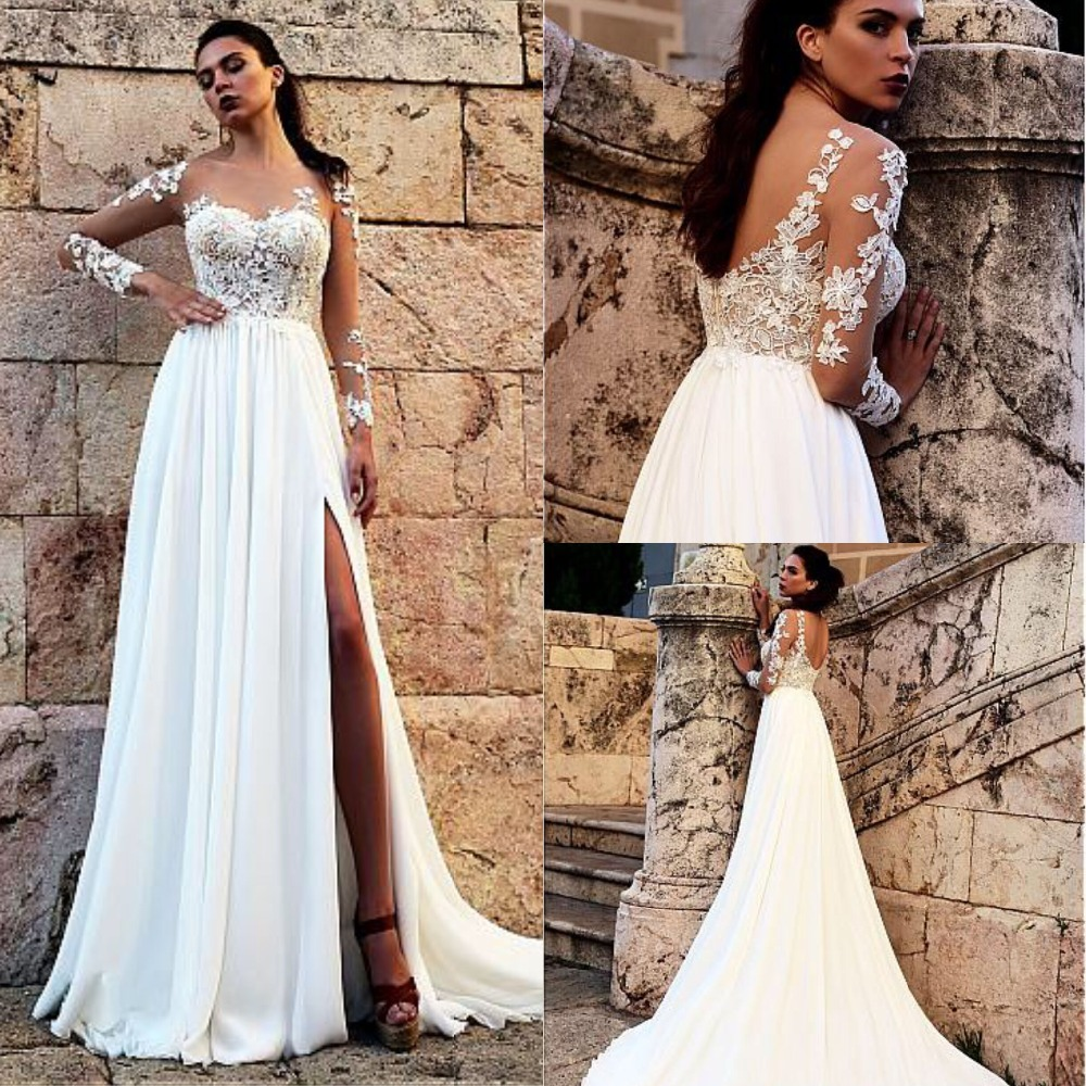 Attractive Chiffon Sheer Jewel Neckline Wedding Dress Lace Appliques Slit A line Bridal Gowns Custom Made