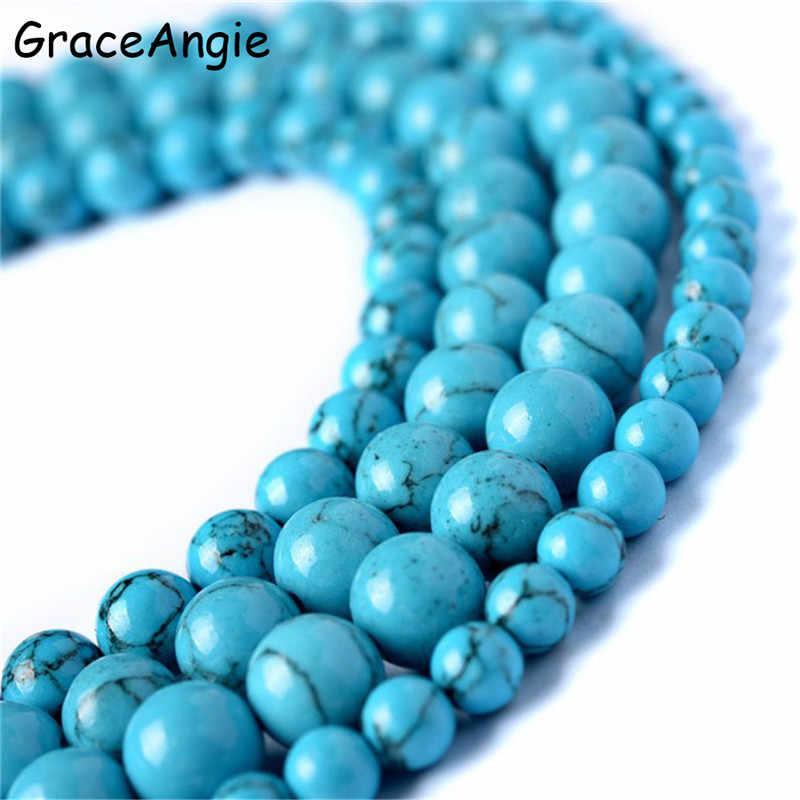 AAA + Großhandel Naturstein Perlen Schmuck DIY Blau türkisen verkrustete Runde Perlen für Schmuck Machen 15 zoll Pick Größe 4 6 8 10 12mm