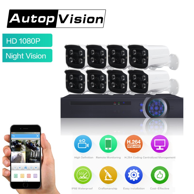 LS-AKA2 1080P 8CH AHD DVR kits 8 channel AHD CCTV Camera system Waterproof Night Vision Indoor/Outdoor AHD DVR Alarm System