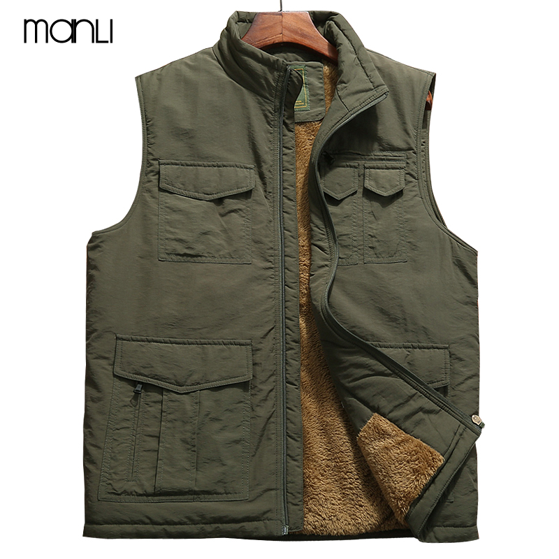 2018 Winter New Mens Warm Vest Men Multi-pockets Waistcoat Fleece Mens Warm Sleeveless Jacket Waistcoat hombre Large Size 5XL galliano сабо