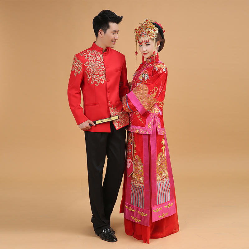 Man Chinese Wedding Clothing Red Tunic Tang Costume Long Sleeve Traditional Jacket Male Bridegroom 89 In Tops From Novelty Special