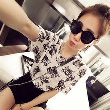 Summer Fashion T shirt Woman Short Sleeve Round Neck Tshirt Femme Cat Printed Co
