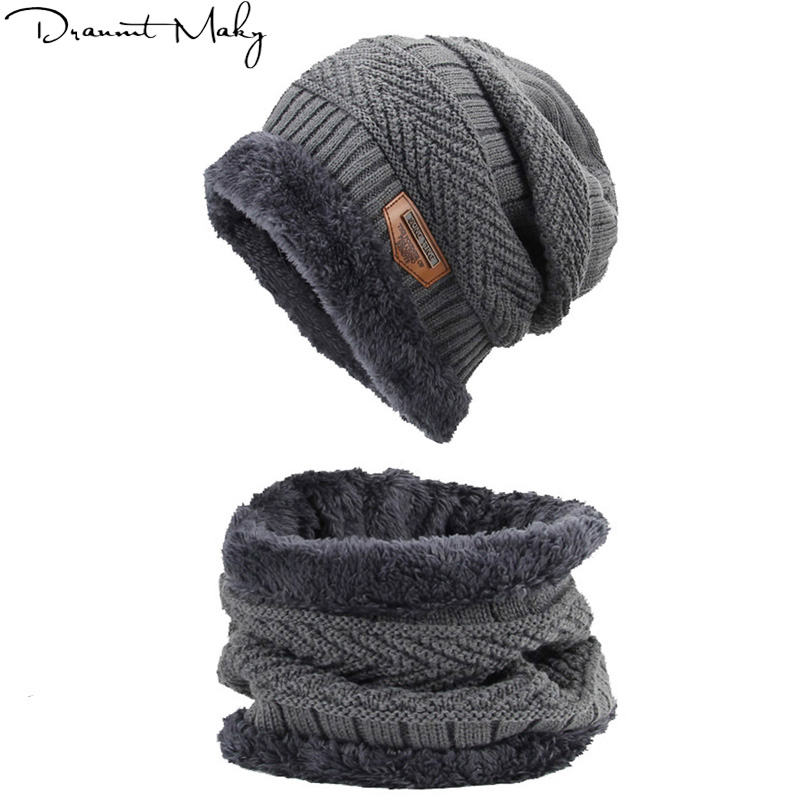 Women's knitted hat scarf caps neck warmer winter Hats For Men Women   Skullies     Beanies   Warm Fleece caps   beanie   bonnet fashion2018