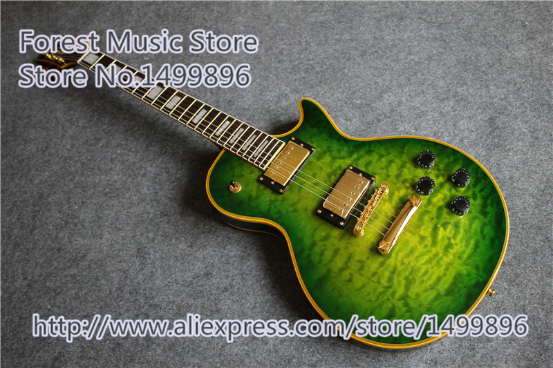 High Quality Vintage Green LP Custom Model Electric China Guitar with Gold Hardware Left Handed Available new arrival high quality left handed white electric guitar free shipping high quality guitar custom shop
