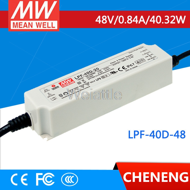 MEAN WELL original LPF-40D-48 48V 0.84A meanwell LPF-40D 48V 40.32W Single Output LED Switching Power Supply mean well original npf 40d 36 36v 1 12a meanwell npf 40d 36v 40 32w single output led switching power supply