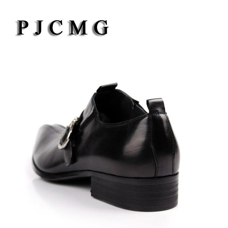 Genuíno Sapatos Novos 2017 Black Apontado Escritório Dos Carreira Homens amp; De Moda Couro Business Casual Oxford brown Fivela Dedo 8ZZSx