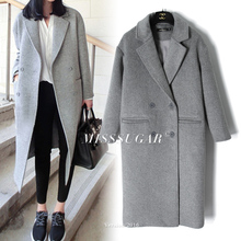 Light Grey Wool Coats Autumn Winter 2018 Women Peacoats Grey Twill(China)