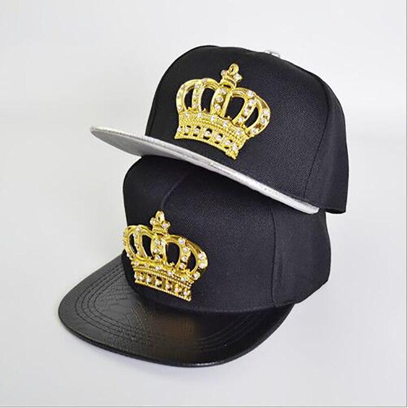 JESPER Hip-Hop Baseball Cap Full Diamond Crown Flat Snapback Hat