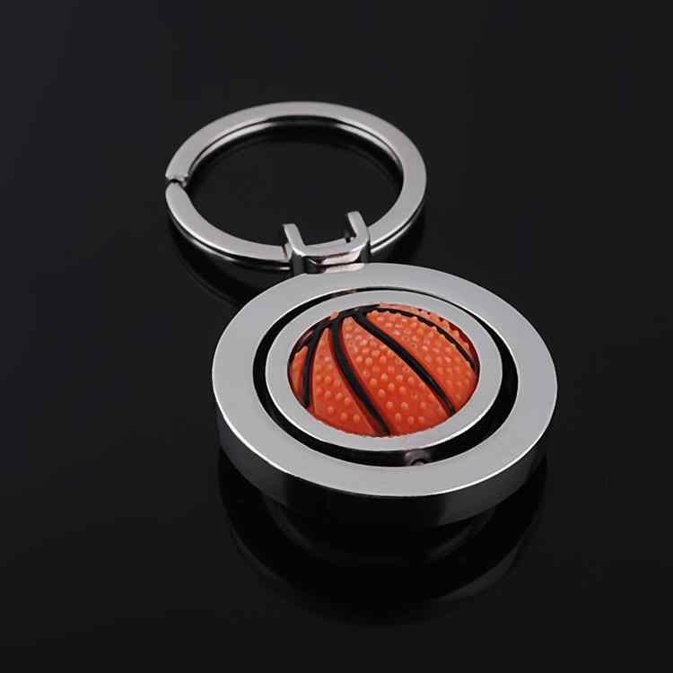 LLavero de baloncesto rotacional llavero redondo llavero bolsa dijes metal llave cubierta deporte estilo chico bolso colgante