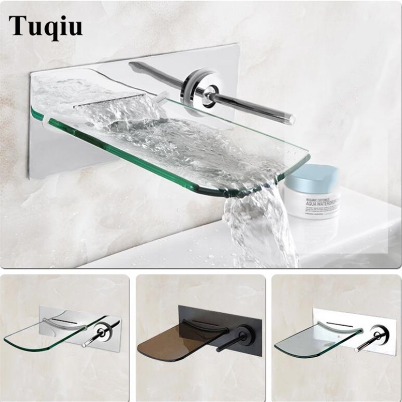 Bathroom LED lavatory basin faucet brass in-wall waterfall Hot and Cold sink mixer waterfall faucet single lever chrome