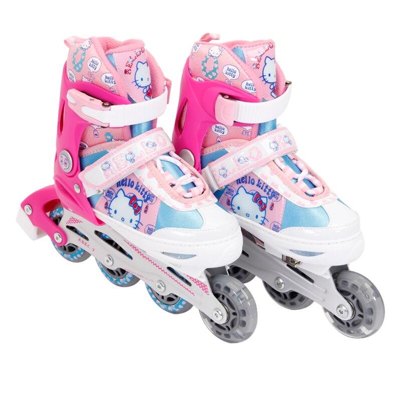 헬로 키티 귀여운 여자 스케이트 신발 최고의 선물 공주 생일 조절 네 바퀴 야외 인라인 스케이트 신발