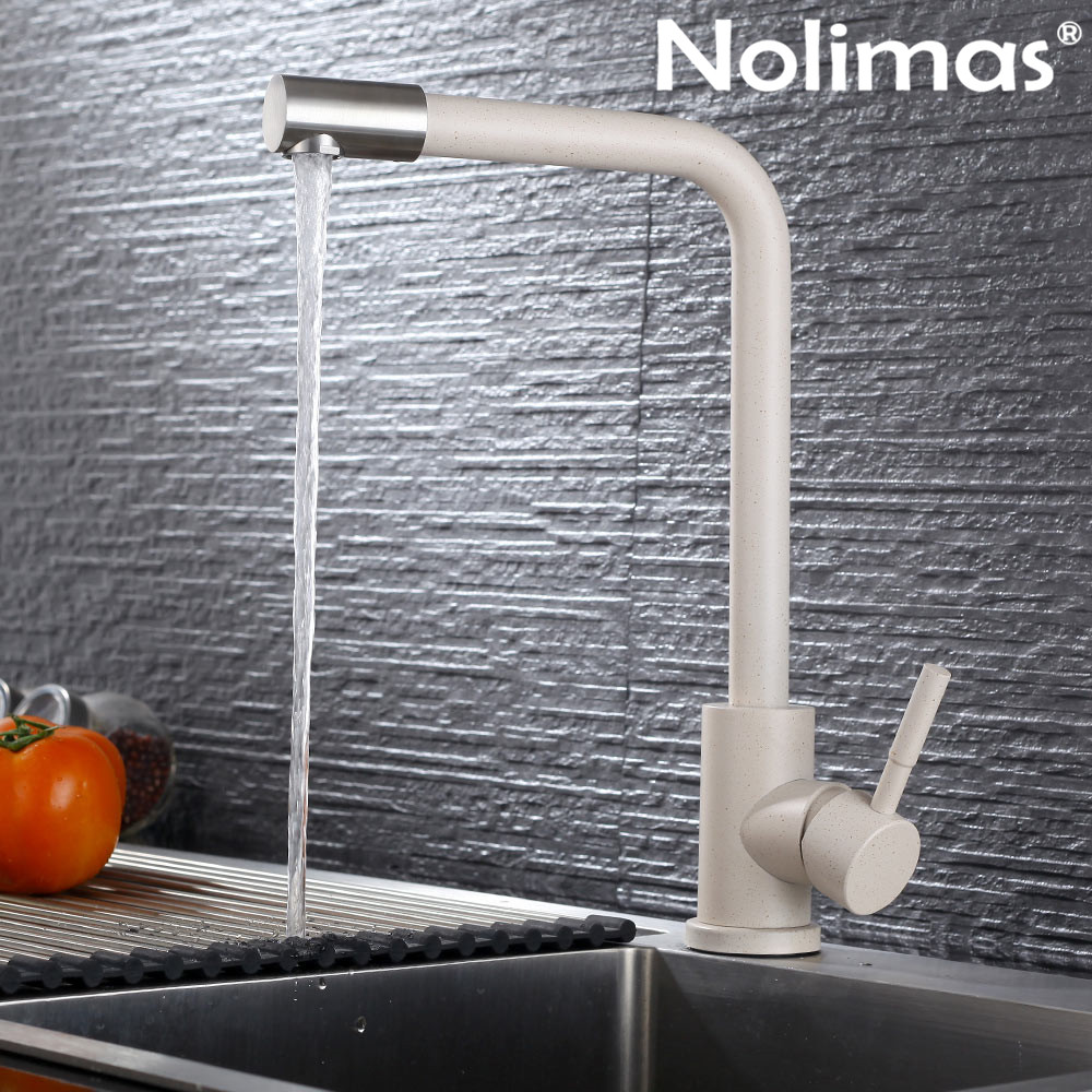 SUS 304 stainless steel Kitchen Rotating Faucets Beige paint Spool Mixer Water Faucet tap Hot And Cold Double Control Faucets kitchen tap sus 304 stainless steel faucets beige paint spool mixer water faucet hot and cold double control ceramic plate spool
