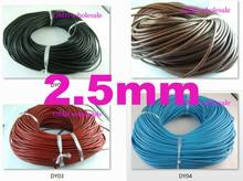 wholesale 2.5mm 5m Fashion Black red White blue coffee Real Leather Thread Cord For Necklace Bracelet without clasps Strands(China)