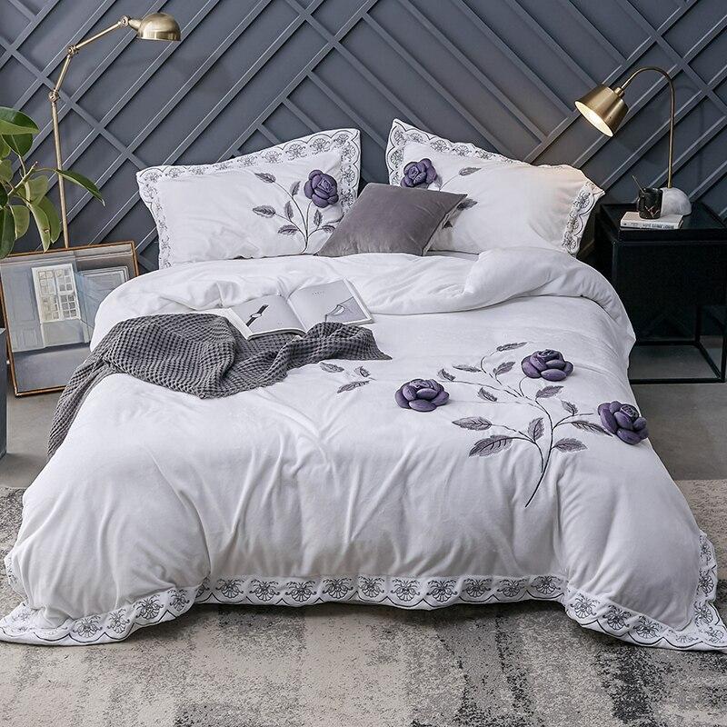 Luxury Velvet Flannel Fragrant Flowers Bedding set Winter Warm Fleece Applique Duvet Cover Bed Sheet Pillowcases
