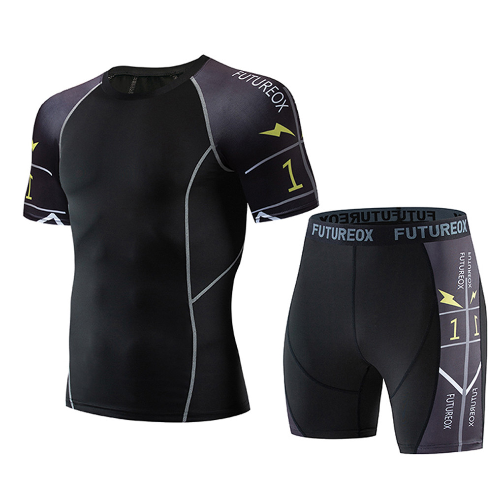 Men's Fitness Set Sweat Breathable Set Summer Short Sleeve Shorts Sports Tight Set Polyester Round Neck Print Set Y611
