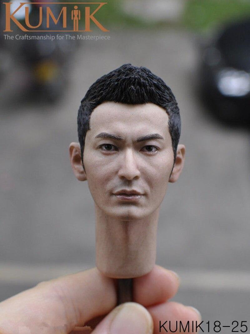 """KUMIK 1//6 Scale Head Model Asia Movie Star Male Head F 12/"""" Figure KUMIK18-14"""
