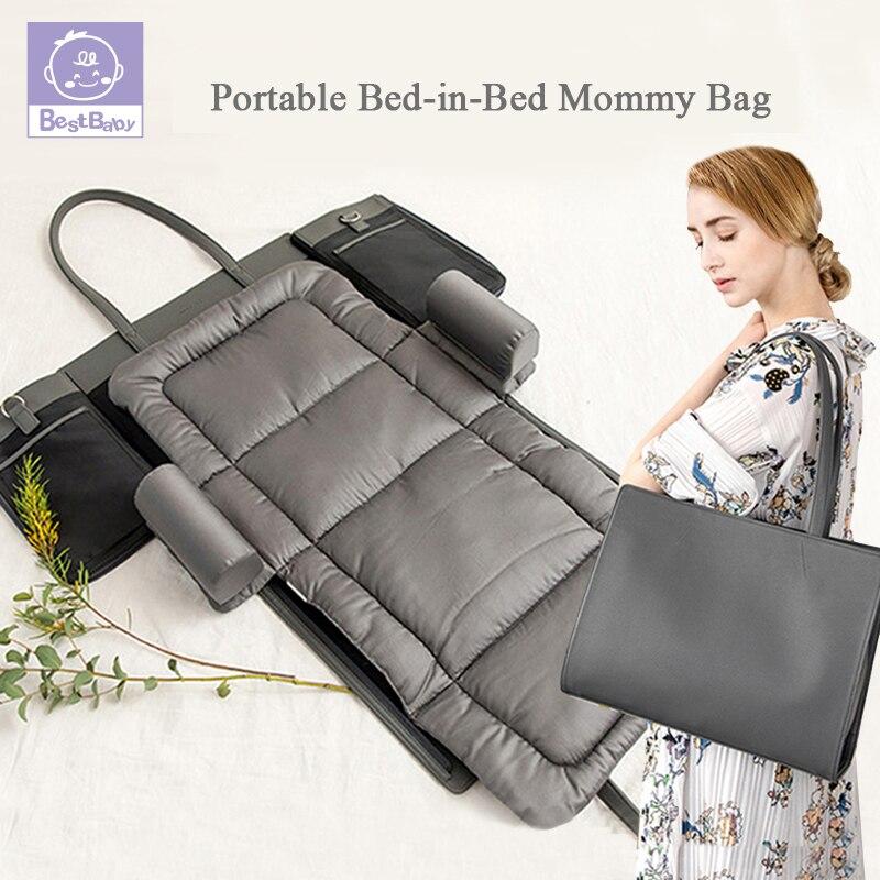 Lit Portable dans le lit lit bébé multifonctionnel pliant matelas résistant à la pression voyage lit bébé sac de couchage couche à langer