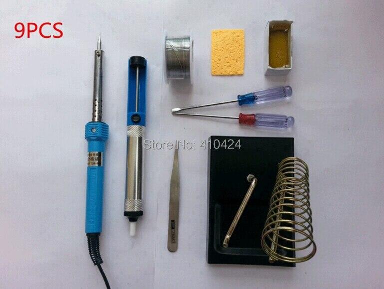 9pcs 220v 60w diy electric soldering iron starter tool kit with iron stand solder desoldering. Black Bedroom Furniture Sets. Home Design Ideas