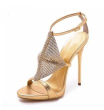 цена Fashion Cross Tied T-bar Straps Stiletto Heeled Open Toe Gold Silver Rhinestone Gladiator High Heel Sandals Summer Shoes Women онлайн в 2017 году