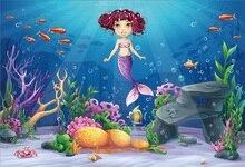 Laeacco Undersea World Mermaid Porträtt Scenisk Baby Fotografisk Bakgrund Anpassad Fotografi Bakgrund För Foto Studio