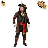 DSPLAY Cosplay New Luxury Pirate Costume For Men Pirate Captain Hat Shirt Handsome Halloween Uniform Code Belt Parts Men Sets