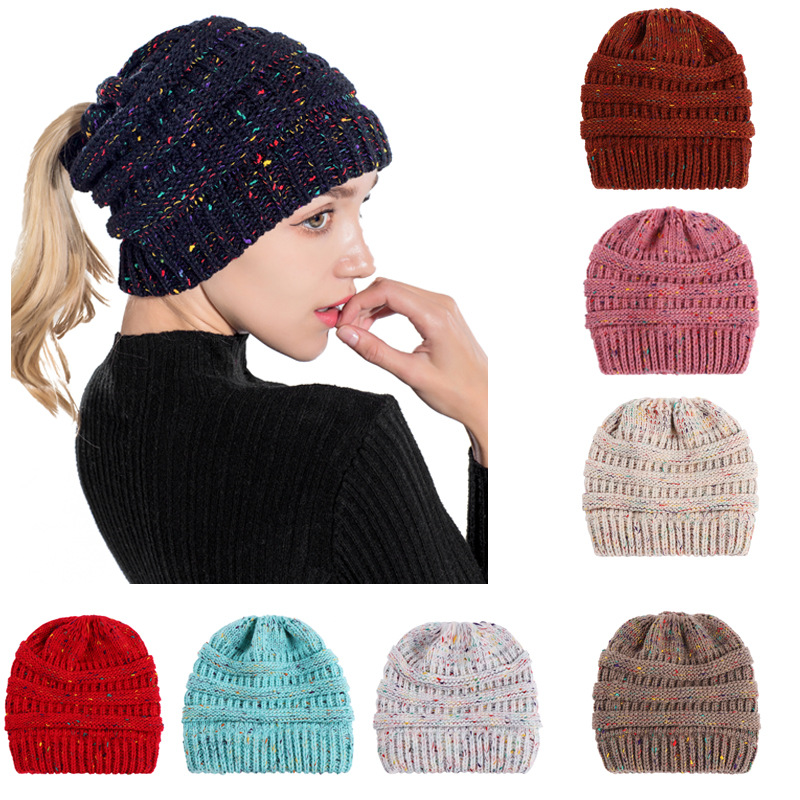 Hot sale confetti winter women knitted acrylic ponytail   beanie   hat constraining messy hair bun   beanie   warm hats for girls