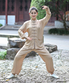 Beige Traditional Chinese Lady Clothing Women Cotton Long Sleeve Kung fu Tai Chi Suit XXS XS S M L XL XXL XXXL