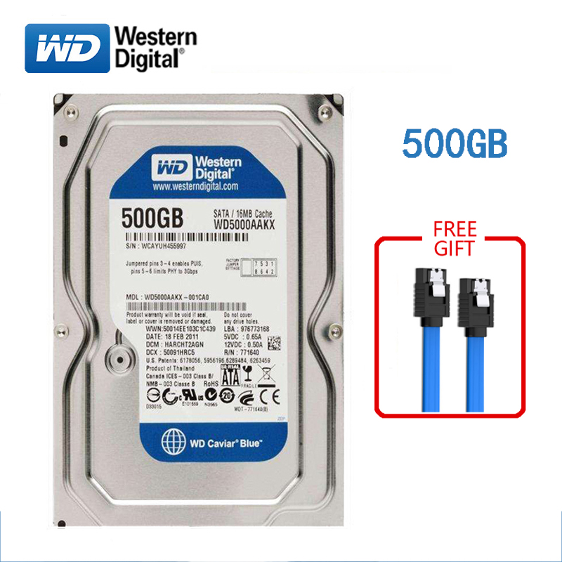 WD Hard-Disk HDD Computers 7200RPM Desktop SATA3 Internal 500GB Brand For 6GB/S