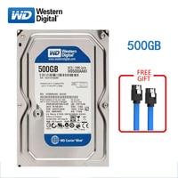 WD BLUE brand 500GB internal hard disk 3.5 7200RPM SATA3 HDD 6Gb/s 500G HD hard disk for desktop computers free shipping