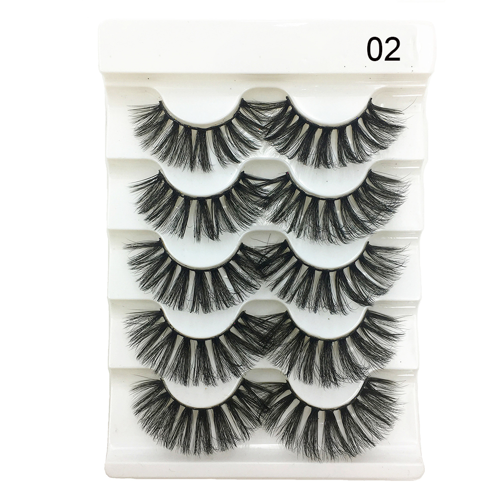 Image 4 - 5 Pairs 3D Faux Mink Hair Soft False Eyelashes Fluffy Wispy Thick Lashes Handmade Soft Natural Eye Makeup Extension Tools-in False Eyelashes from Beauty & Health