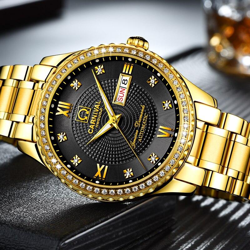 Carnival Full Gold Stainless Steel Mechanical Watch Men Diamond Sapphire Waterproof Luminous Day -Date Male Wristwatch цена и фото