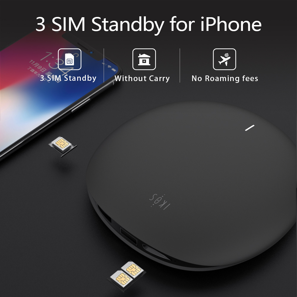 No roaming abroad SIMadd iKos 3 SIM 3 Standby Activate Online at the Same time WiFi Router for iPhone 6/7/8/X iOS 7-12