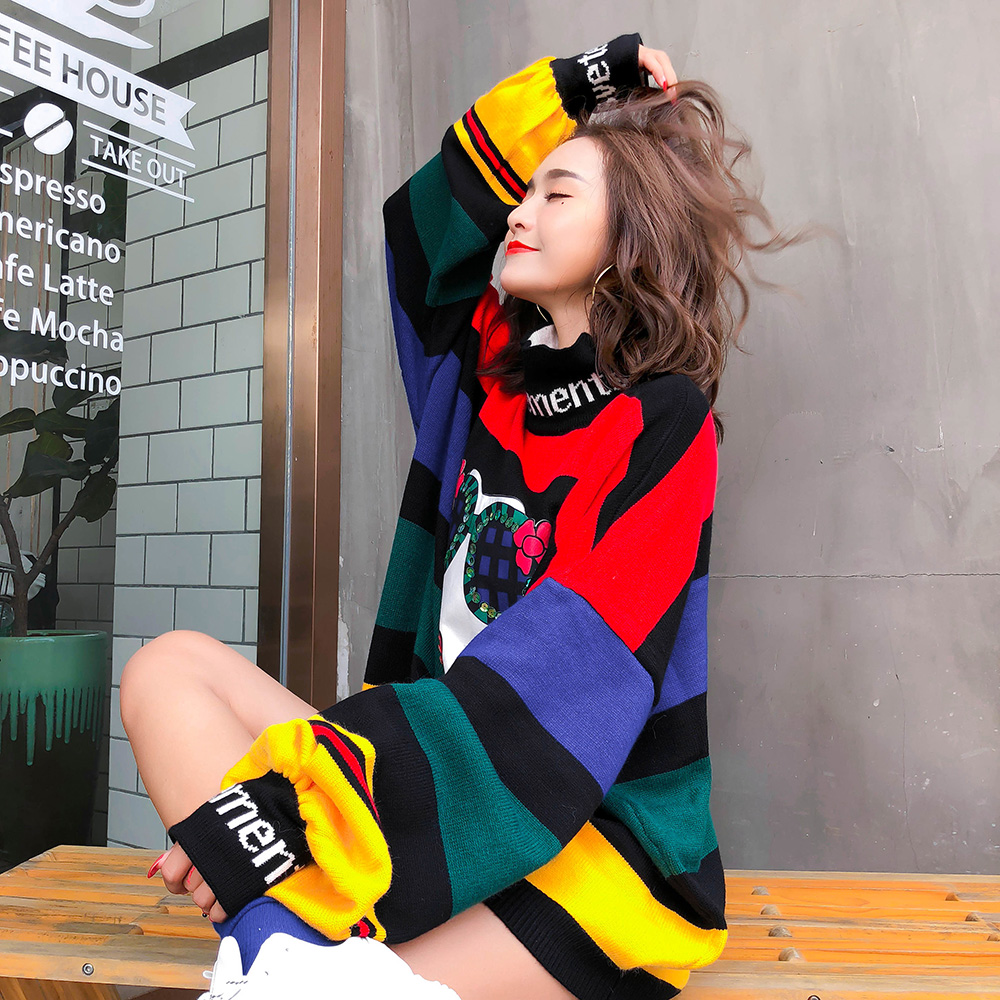 Image 2 - 2020 Spring rainbow stripes loose plus size sweaters women  fashion puff sleeve turtleneck knitted sweatersPullovers   -