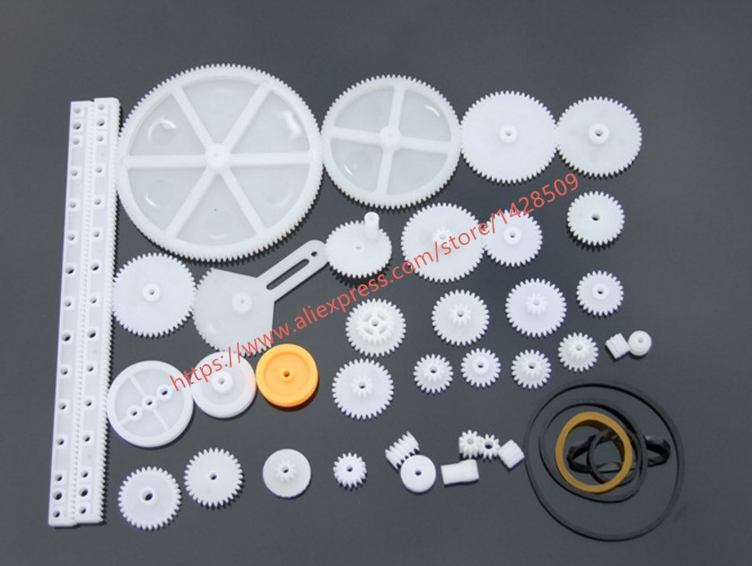 34 Pcs/lot Different Type Plastic Mini Gear And Gear Rack And Worm And Worm Gear Belt Pulley For DIY Toy Model