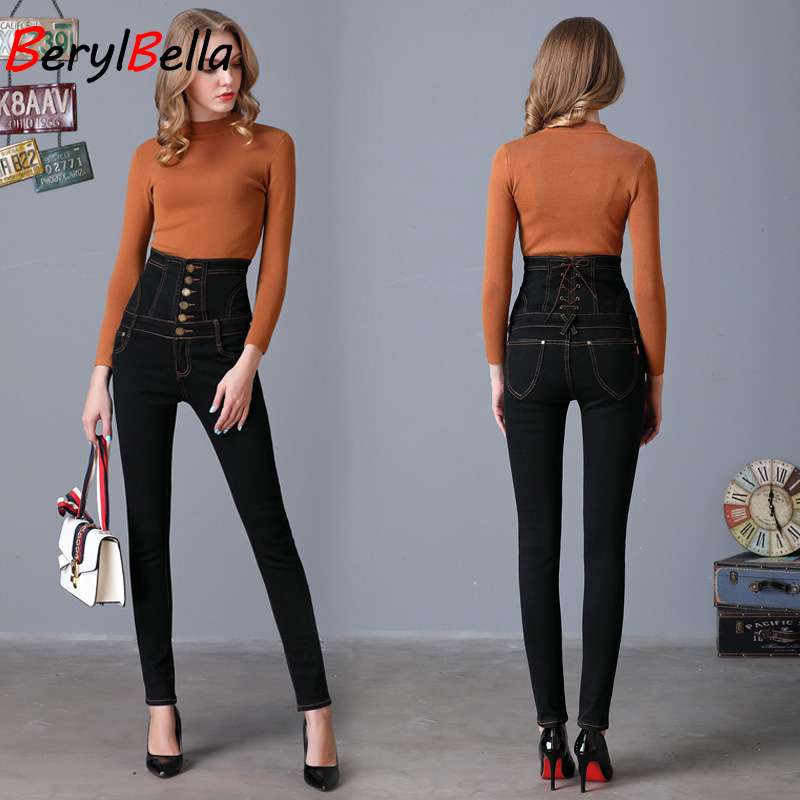 BERYLBELLA 2017 Spring women high waist jeans black blue lace up slim casual long  pencil pants female trousers over size s-6xl loose lace up casual mens pencil pants