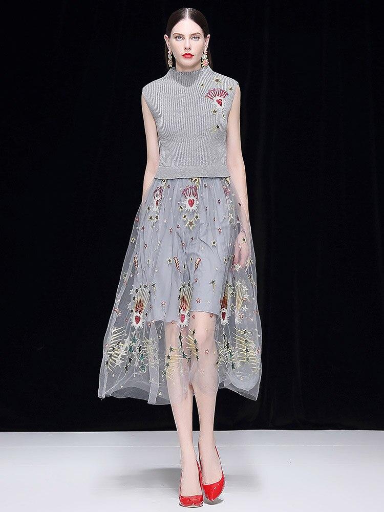 Горячая мода вышивка Сетчатое платье 2019 весна взлетно посадочной полосы платье без рукавов D718