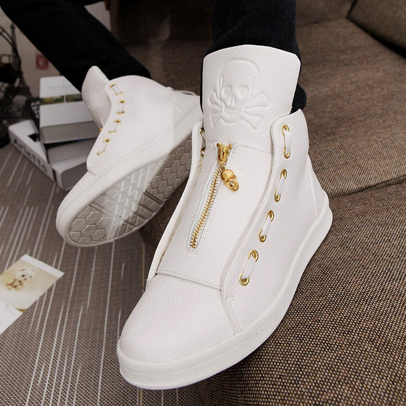 2018 New Sales Designer Shoes Men High Quality Hip Hop Shoes Skull Mens Shoes Casual Luxury Brand Famous Leather Tops HX 926