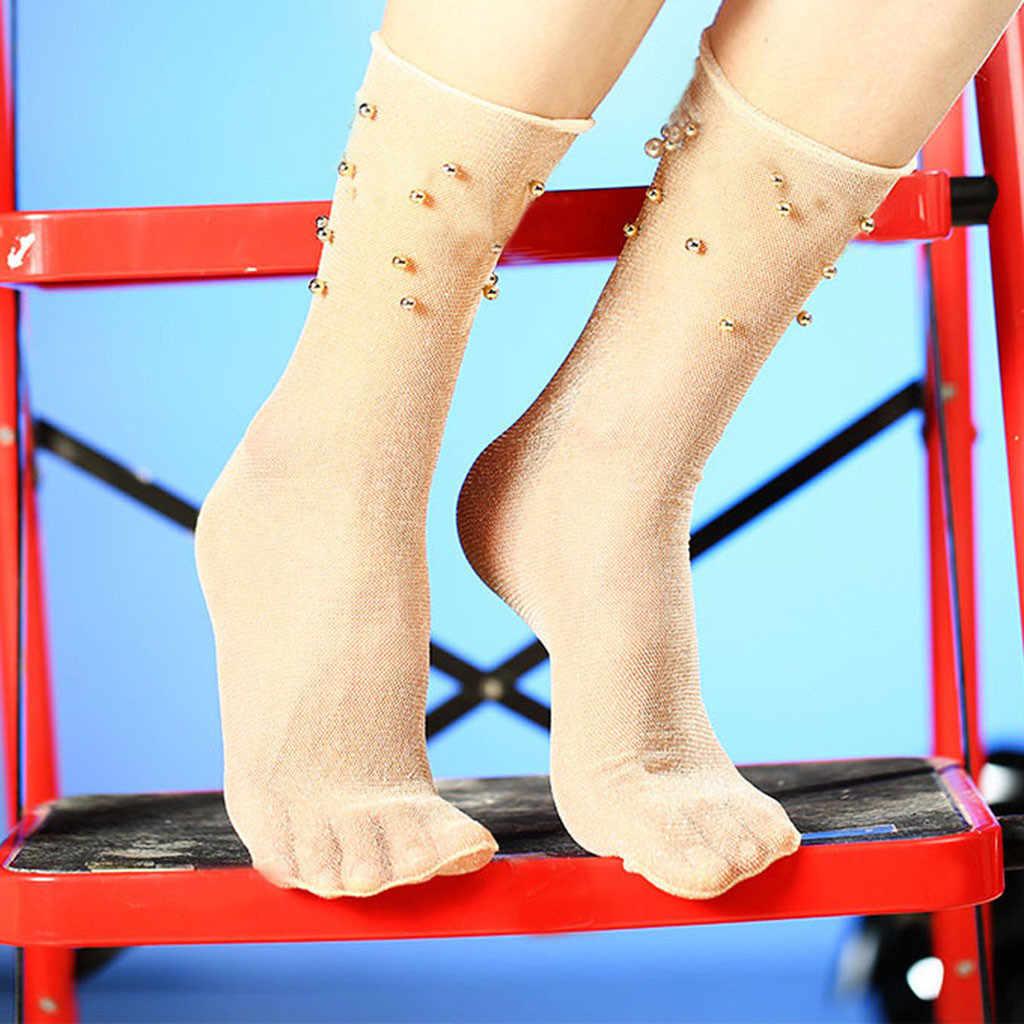 Calcetines populares para mujer red de pesca volante tobillo alta malla calcetín de encaje señoras Meias Fish Net brillante plata exquisita calcetines cortos elásticos