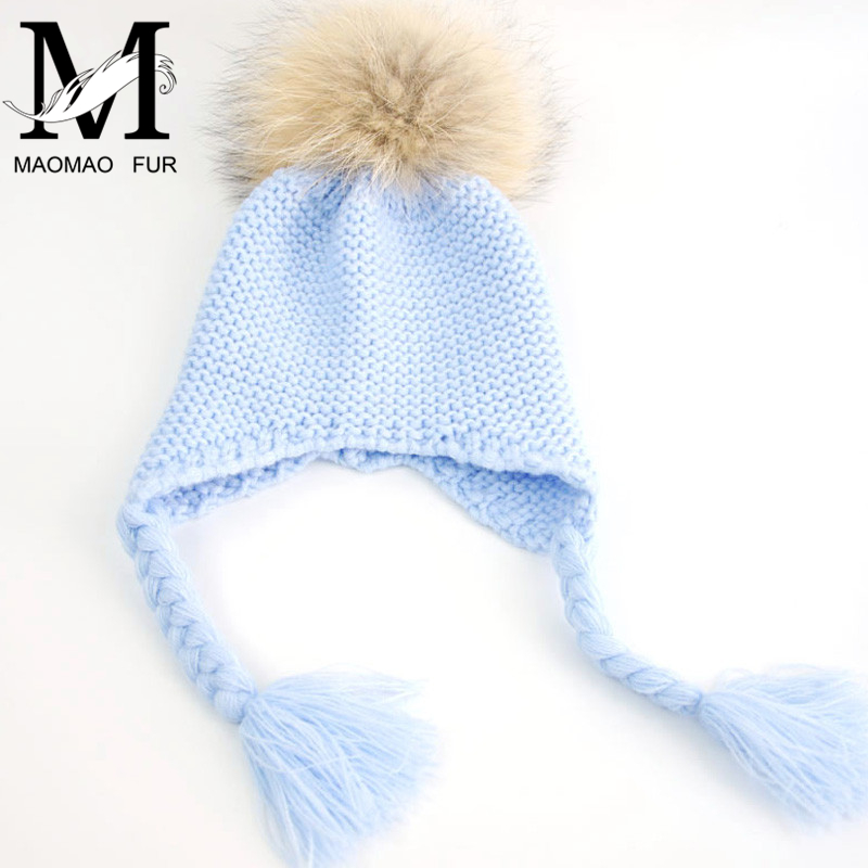 Children Baby Real Raccoon Fur Pompom Beanie Hat Warm Winter Hat Cap Knitted Earflap Natural Fur Ball Hat For Kids Boy Girl