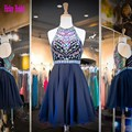 2016 Azul Marinho Vestido Halter Doce 16 Curto do Regresso A Casa Frisado Que Bling Vestido De Noite Em Vestidos Semi Formales Chiffon do baile de Finalistas