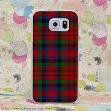 3800HF RED BLUE TARTAN SCARF FASHION Hard Case Transparent Cover for Galaxy S2 S3 S4 S5 & Mini S6 Edge Plus S7 Edge