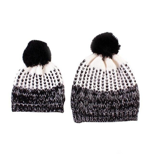 2 unids/lote padre niño del sombrero del invierno gorros calientes ...