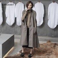 Cakucool新しい女性カーキポンチョトレンチコート簡単なデザイン緩い大ノースリーブ長い上
