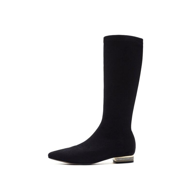 Bolso Cr1537 Ternero Puntiagudo Tacones Zapatos Botas Mujeres Gruesos Mediados Mujer En Bajos Rebaño Resbalón Del Invierno Dedo Black Pie De Enmayer Moda RxStqdFwR